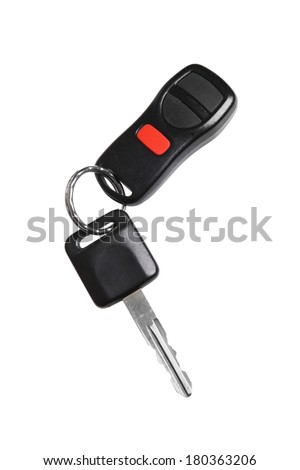 Car key and remote, cutout on white background - stock photo