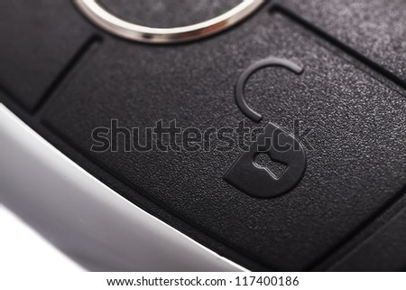 Car key, button to open the car. - stock photo