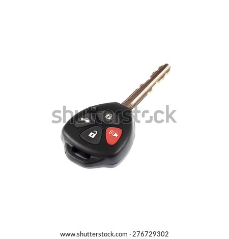 car key on white background - stock photo