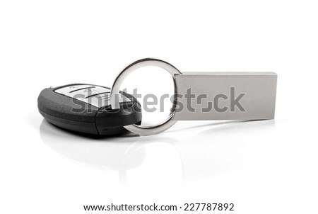 car key with blank keyring isolated on white - stock photo