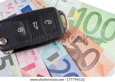 Car key with euro Banknotes / Car Key and money - stock photo
