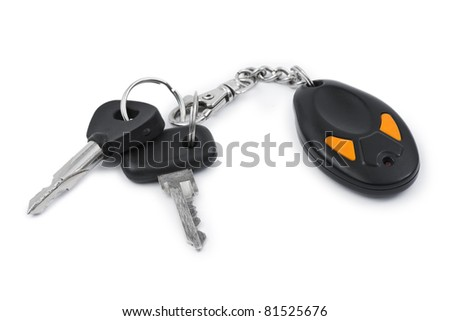 Car keys and remote control isolated on white background - stock photo