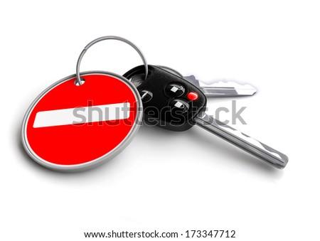 Car keys with road sign keyring. No entry road sign, traffic symbol - stock photo