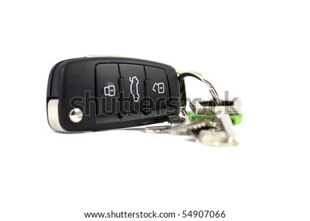Car keys with some other keys on keychain isolated on white - stock photo