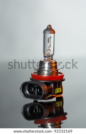 Car lamp isolated on gray background - stock photo