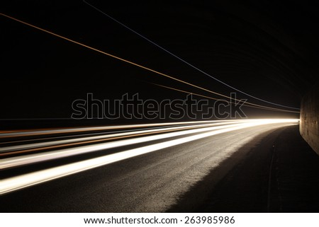 Car light trails in the tunnel. Long exposure photo taken in a tunnel below Veliko Tarnovo