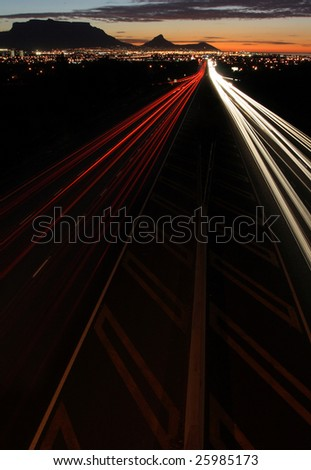 Car light trails on a highway in Cape Town South Africa - stock photo