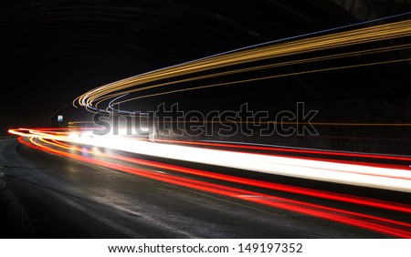 car lights at night. art image.