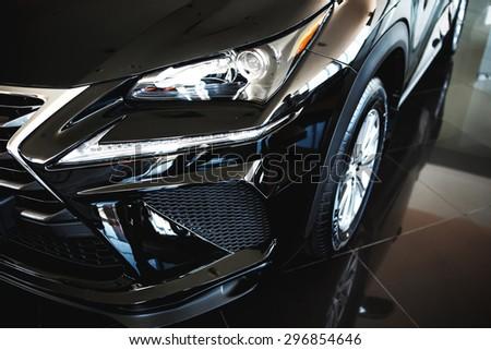 car lights close up - stock photo