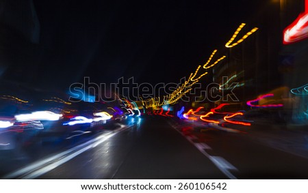 car lights on highway by night,abstract light trace background