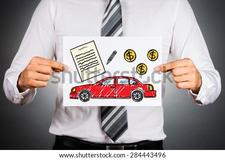 Car loan concept. Businessman holding paper with drawing of a car together with money and contract illustrations. - stock photo