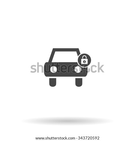 Car lock. Flat icon on grey background with shadow - stock photo