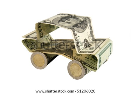 Car made of dollar banknotes and euro coins isolated on white background - bank concept or buying car idea - stock photo