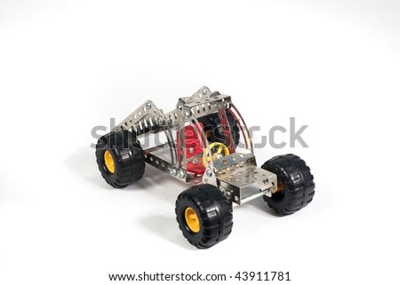 car manufacturer, toy, isolated on white background - stock photo