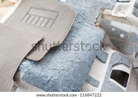 car mat set prepared for wash - stock photo