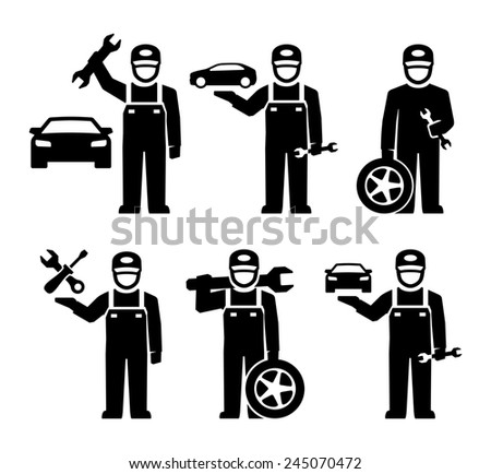 Car Mechanic Figure Pictogram Icons