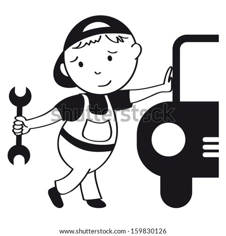 Car mechanic - raster version of vector ID 142118203