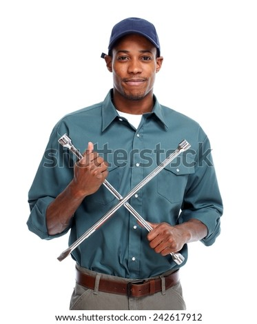 Car Mechanic with wrench isolated on white background - stock photo
