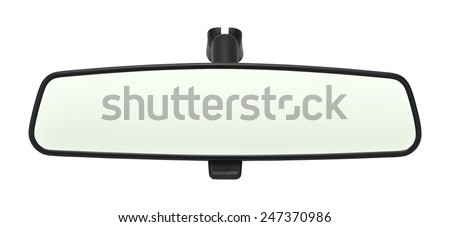 Car Mirror with Copy Space Isolated on White Background. - stock photo