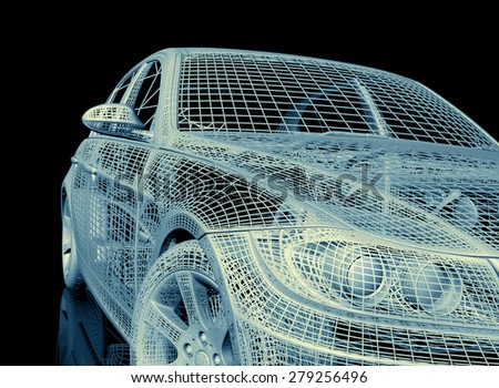car model on colored background