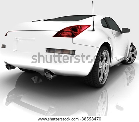 Car model on white background with reflection - stock photo