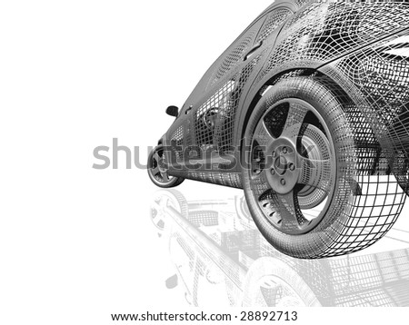 Car model white and black isolated with reflection - stock photo
