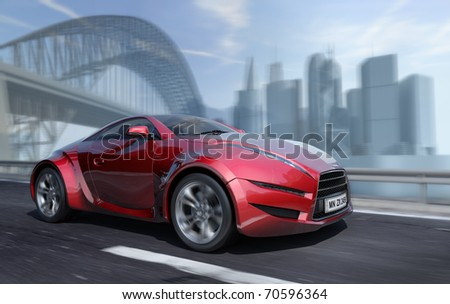Car moving on the urban road. Original car design. - stock photo