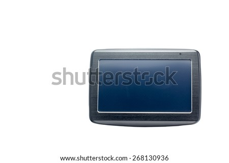 Car navigation equipment with empty dark screen on white isolated background. Front view.  Description and keywords do not include words such as trademarks.