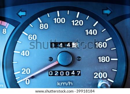 Car odometer - stock photo