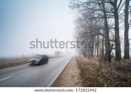 Car on a road in fog. Morning in fog - stock photo
