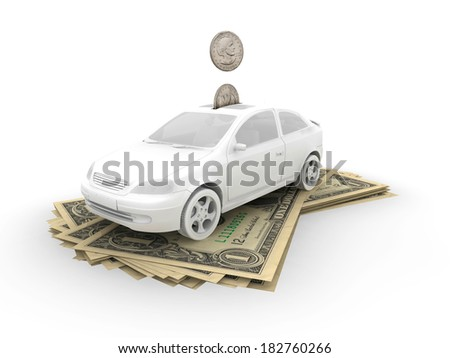 Car on dollar bills and coins - stock photo