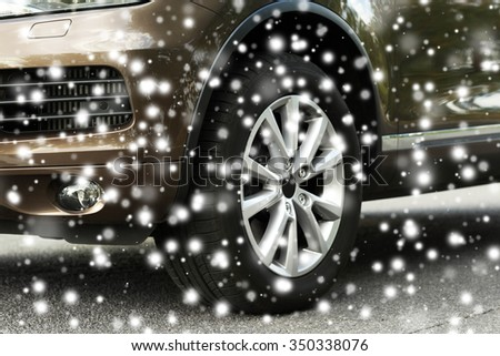 Car on road over snow effect - stock photo