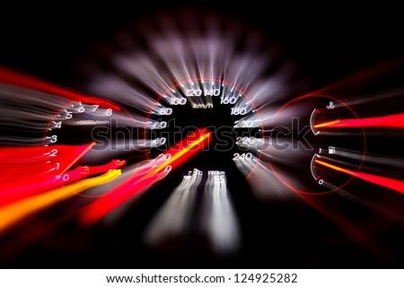 Car panel instrument speedometer and tachometer - stock photo