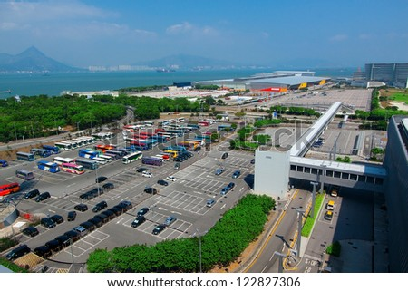 Car parking place in city - stock photo