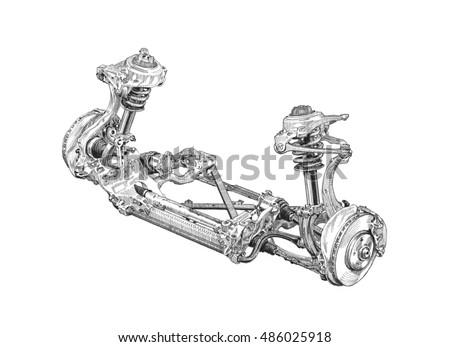 Car Parts Accessories Hand Drawing Suspension Stock Illustration ...