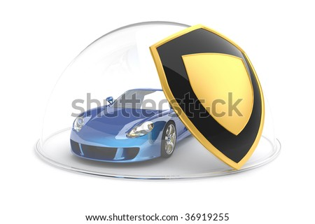 Car protection. Hi-res digitally generated image. - stock photo