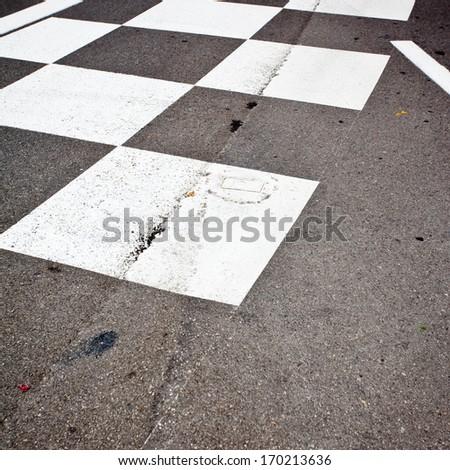 Car race asphalt and curb on Monaco Montecarlo Grand Prix street circuit - stock photo