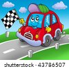 Car race starter on road - color illustration. - stock vector