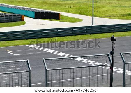 Car racing finish line - stock photo