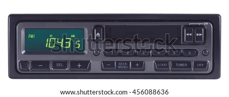 car radio audio stereo auto black front sound  tuner tune - stock photo