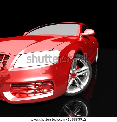 car red color on a dark background. with shiny paint and lights on. design concept.  3d rendering  modern car, front view - stock photo