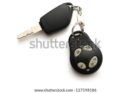 Car remote key on white - stock photo