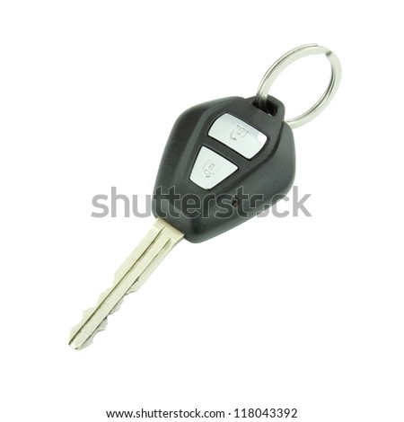 car remote key on white background
