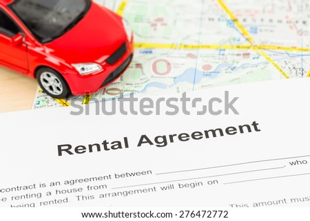Car Rental Agreement On Map Document Stock Photo Royalty Free