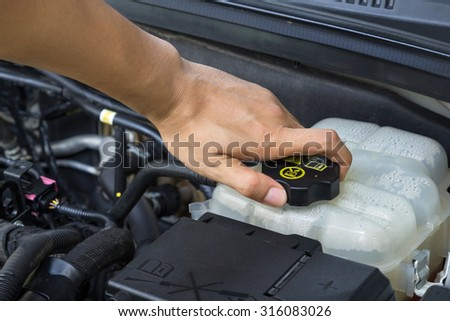Car repair service, Auto mechanic checking water level in a engine - stock photo