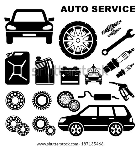 Car repair service icon. Raster illustration.