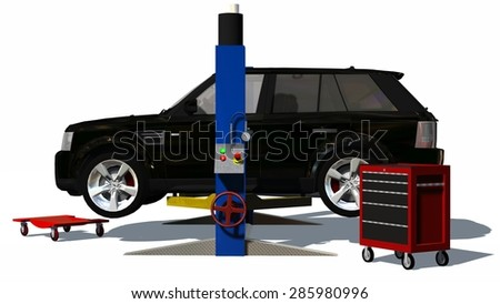 car repair suv on hydraulic ramp isolated on white background