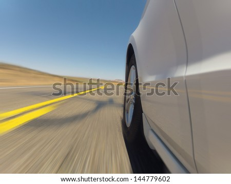 Car ride on road - Motion Blur - stock photo