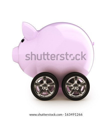 Car savings. Piggy bank with wheels on a white back ground. Money savings on a vehicle  concept for buying, renting, insurance, fuel, service and repair costs. - stock photo