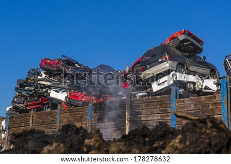 Car scrapyard  - stock photo
